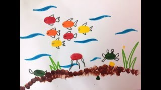 Underwater Scenery for kids| Thumb Painting | Finger Print