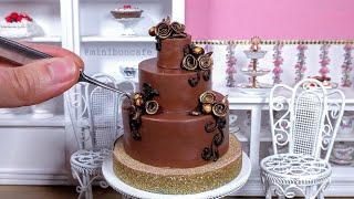 Miniature Chocolate Rose Cake - mini food ASMR