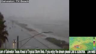 Galveston Texas Seawall multi-cam  ahead of Tropical Storm  Beta Ocean Sounds Hurricane Part2