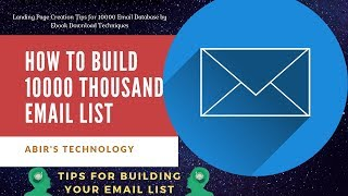 How to Build 10000 Email List Strategy from ebook download Offer by opt in form Landing Page Design