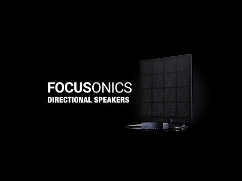Focusonics is a directional speaker that uses ultrasonic waves for sound reproduction, generating sound that is confined to a narrow beam; in the beam, the listener is immersed in music or speech while just steps away no sound can be heard.