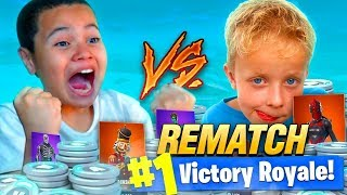 9 YEAR OLD KID VS LITTLE KID SQUEAKER 13,500 VBUCKS WAGER! REMATCH OF THE YEAR! FORTNITE BR HE RAGED