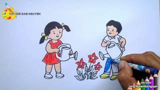 Vẽ tranh Bé tưới cây/How to draw Baby watering plants