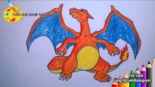 Vẽ rồng lửa Charizard trong Pokemon/How to Draw Charizard from Pokemon
