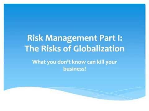 [Webinar] Risk Management Part 1- The Risks of Globalization