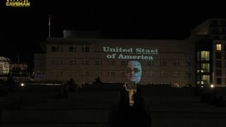 United Stasi of America Lightart Protest Projection U.S. embassy in Berlin