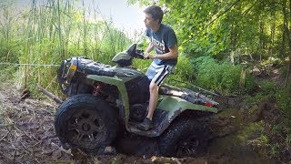 FREEING THE BEAST! Mudding Rescue Using a Come-A-Long! Lifted Polaris Sportsman 800 4x4 Off-Roading!