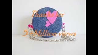 DIY Round Purse Using Old Jeans And Old CD's - Recycling No Sew Purse