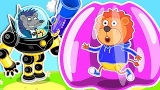 Lion Family 🤖 Robot-Superhero 4: Inflatable Playhouse - Cartoon for Kids