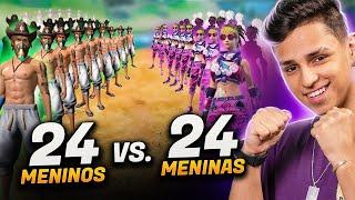 QUEM GANHOU?! 24 MENINOS vs 24 MENINAS NO FREE FIRE!!