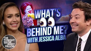 What's Behind Me? with Jessica Alba | The Tonight Show Starring Jimmy Fallon