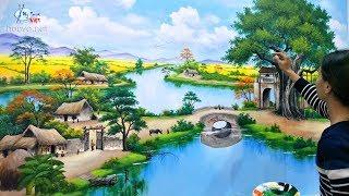 Vẽ tranh tường 3d phong cảnh đồng quê. Liên hệ vẽ tranh: 0969.033.288/Đào tạo các khóa học vẽ tranh.