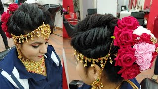 Real bridal Juda hairstyle with Tika fit for beginners//step by step easy & simple method(2020)