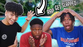 IF YOU RAP YOU GET SLAPPED (PART 5) 😭👋🏻 WE GOT SOAKED 😂