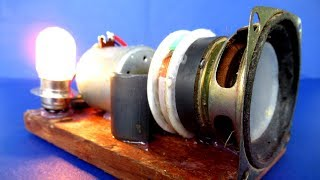 New Science project DIY experiment at School - Free energy Light bulb in speaker magnet