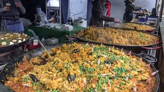 Street Food of London Bridge Market. Huge Paellas, Wild Boar Big Burgers, Coloured Pasta and More