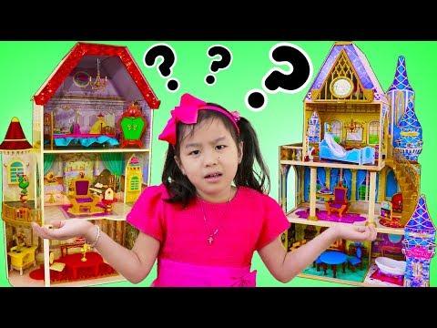 Jannie Pretend Play w/ Disney Belle & Cinderella GIANT Doll Playhouses Kids Toys