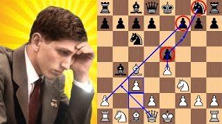 Bobby Fischer blasts Reuben Fine in 17 moves with the Evan's Gambit | 1963