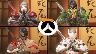 Overwatch - All Genji Skins with All Highlight Intros!