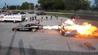 DIAMOND JIMS JET FUNNY CAR MELTS CROWN VIC! JET BANDIT