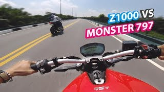 Kawasaki Z1000 vs Ducati Monster 797   DẠO NHẸ NHÀNG   Vietnam motovlog
