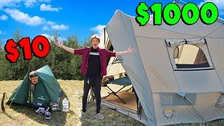 $10 Tent vs $1000 Tent OVERNIGHT Survival!