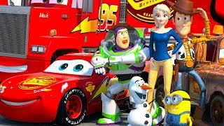 Disney Pixar CARS meet TOY STORY Lightning McQueen Minions Buzz Lightyear & Woody ANIMATION SHORT