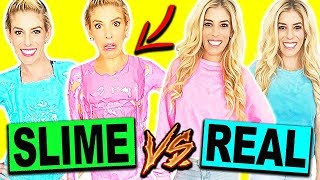 DIY SLIME CLOTHES VS. REAL CLOTHES CHALLENGE!! *Hilarious*