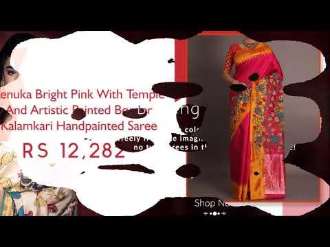 Shatika - Buy Kalamkari Hand Printed Silk Sarees Online