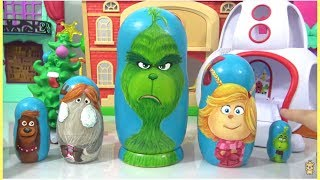 Dr. Suess THE GRINCH Nesting Dolls Matryoshka with Cindy Lou, Young Grinch, Fred & Max the Dog