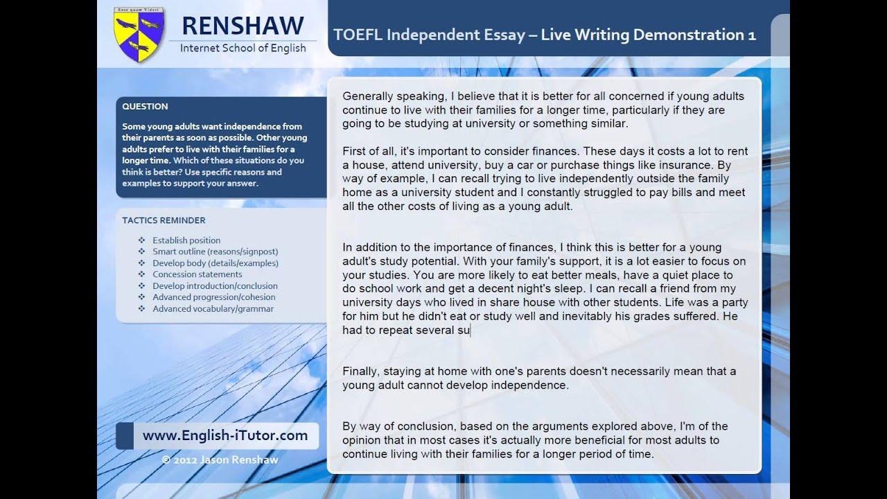 Toefl essay writing youtube