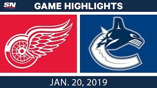 NHL Highlights | Red Wings vs. Canucks - Jan. 20, 2019