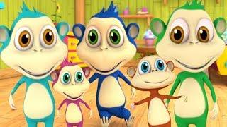 cinco macaquinhos | Five Little Monkeys | canção dos desenhos animados em portugueses