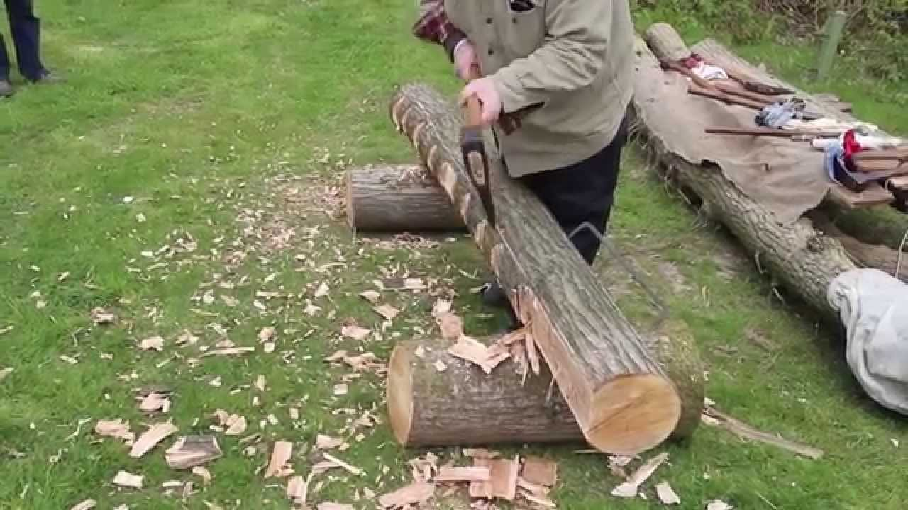 Traditional Hewing Log To Beam Youtube