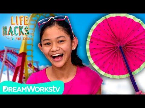 Paper Fan + Other Theme Park Hacks | LIFE HACKS FOR KIDS