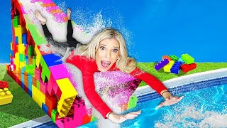 We Turned Our Backyard into a Giant Lego Water slide for 24 hours | Rebecca Zamolo