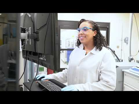 screenshot of youtube video titled Dana Moore, Biomanufacturing Associate | Let's Go! CAREERS