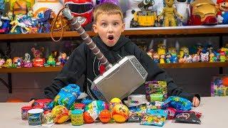 HUGE THOR HAMMER Surprise Toy Opening Super Hero Eggs Blind Bags Toys for Boys Kinder Playtime