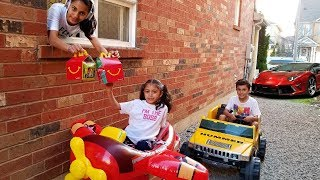 McDonalds Drive Thru Prank! Power Wheels Ride On Car Kids Pretend Play part 2