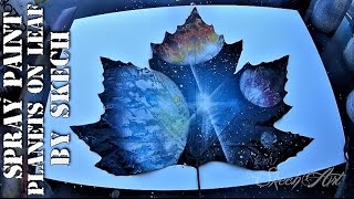 SPRAY PAINT Art on Leaf - Planets 3D