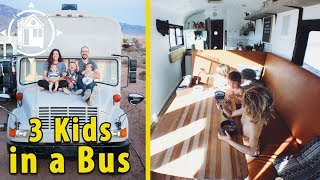 Fun-loving Family Downsizes to a School Bus to Live on the Road