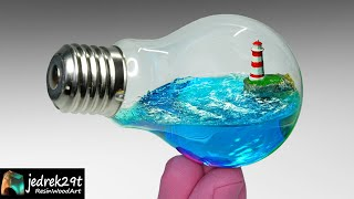 Ocean in a Light Bulb. Lighthouse Diorama / RESIN ART