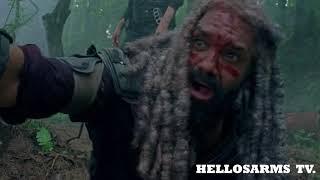 The Walking Dead S08E04 Death Scene:  King Ezekiel's tiger (Shiva) is Dead