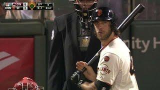 CIN@SF: Bumgarner pinch-hits vs. Chapman, takes walk