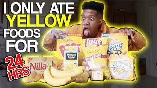 I only ate YELLOW food for 24 HOURS CHALLENGE!!! 🍌🍋🧀🍟 (IMPOSSIBLE)