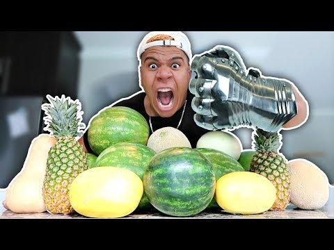 GIANT METAL HULK FIST VS FRUIT NINJA!! (EXTREMELY DANGEROUS)
