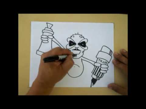 How to Draw a graffiti character by Mr WIZARD #81 (2012 ...  How to Draw a g...