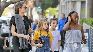 Angelina Jolie Treats Zahara, Vivienne And Knox To A Sushi Lunch In Hollywood!