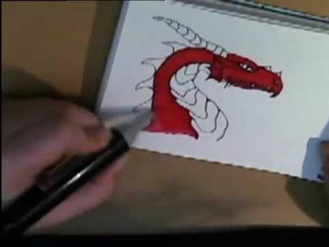 wie zeichnet man einen drachen how to draw a dragon youtube. Black Bedroom Furniture Sets. Home Design Ideas