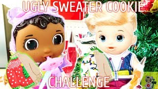 UGLY SWEATER COOKIE DECORATING CHALLEGE!!! BABY CECE VS BABY ALIVE LOGAN!